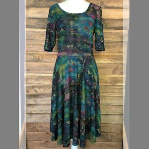 LuLaRoe Aztec print dress in blues and greens